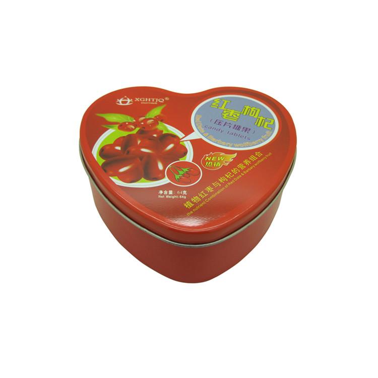 厂家定制 马口铁 心形 压片糖果铁盒 包装精美