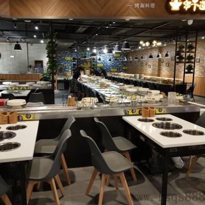 自转小火锅设备 回转火锅设备 旋转麻辣烫餐桌广东厂家低价供应